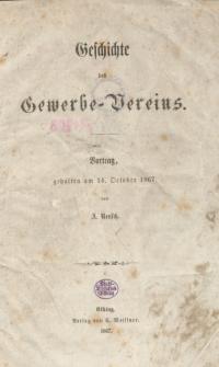 Geschichte des Gewerbe-Vereins