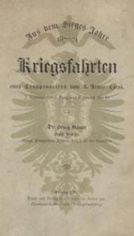 Aus dem Sieges-Jahre 1870/71, Kriegsfahrten eines Truppenarztes vom X. Armee-Corps, 2. Hannöverschen Dragoner-Regiment Nr. 16