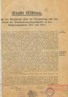 Stadt Elbing : Bericht des Magistrats über die Verwaltung und den Stand der Gemeindeangelegenheiten im Rechnungsjahre 1922 und 1923