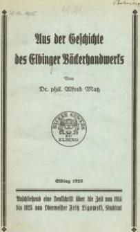 Aus der Geschichte des Elbinger Bäckerhandwerks