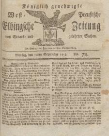 Elbingsche Zeitung, No. 74 Montag, 14 September 1812
