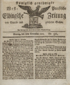 Elbingsche Zeitung, No. 90 Montag, 9 November 1812