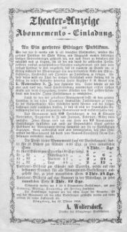 Theater-Anzeige und Abonnements-Einladung (22.X.1854)