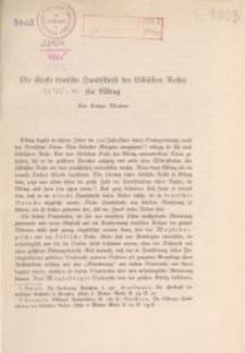 Die älteste deutsche Handschrift des Lübischen Rechts für Elbing