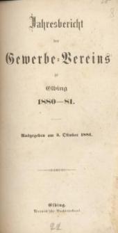 Jahresbericht des Gewerbe-Vereins zu Elbing : 1880/81