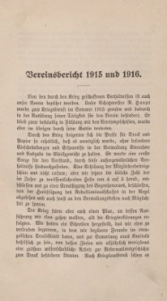 Vereinsbericht 1915 und 1916