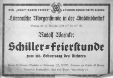 Schiller-Feierstunde zum 180. Geburstag des Dichters