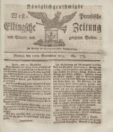 Elbingsche Zeitung, No. 75 Montag, 20 September 1813