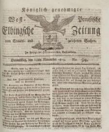 Elbingsche Zeitung, No. 94 Donnerstag, 25 November 1813
