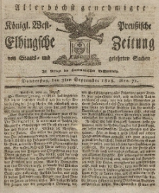 Elbingsche Zeitung, No. 71 Donnerstag, 3 September 1818