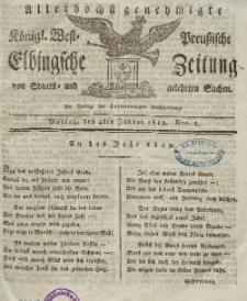 Elbingsche Zeitung, No. 1 Montag, 4 Januar 1819