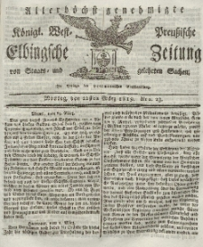 Elbingsche Zeitung, No. 23 Montag, 22 März 1819