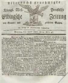 Elbingsche Zeitung, No. 47 Montag, 14 Juni 1819