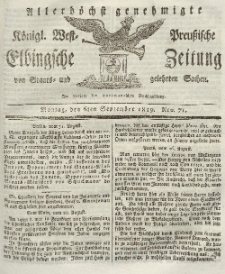 Elbingsche Zeitung, No. 71 Montag, 6 September 1819
