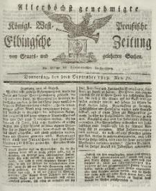 Elbingsche Zeitung, No. 72 Donnerstag, 9 September 1819