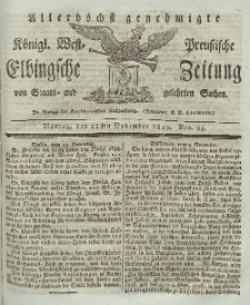 Elbingsche Zeitung, No. 93 Montag, 22 November 1819