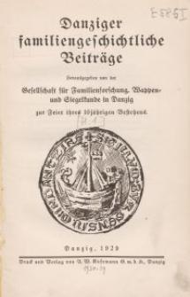 Danziger familiengeschichtliche Beiträge, H. 1
