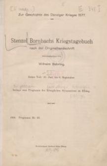 Stenzel Bornbachs Kriegstagebuch von 1577, T. 1