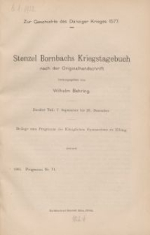 Stenzel Bornbachs Kriegstagebuch von 1577, T. 2