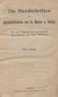 Die Handschriften der Kirchenbibliothek von St. Marien in Danzig