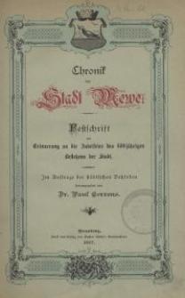 Chronik der Stadt Mewe : Festschrift zur Erinnerung an die Jubelfeier des 600 jährigen Bestehens der Stadt