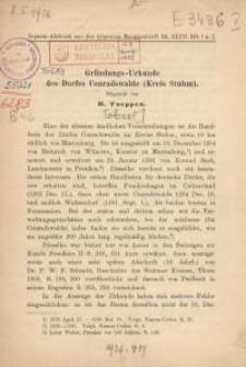 Gründungs-Urkunde des Dorfes Conradswalde (Kreis Stuhm)
