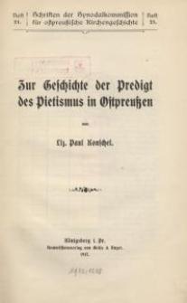 Zur Geschichte der Predigt des Pietismus in Ostpreussen