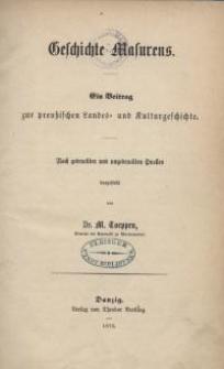 Geschichte Masurens. Ein Beitrag zur preußischen Landes- und Kulturgeschichte