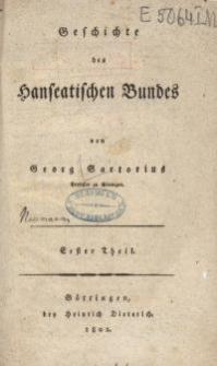 Geschichte des Hanseatischen Bundes , T. 1