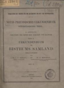 Urkundenbuch des Bisthums Samland : Heft 3