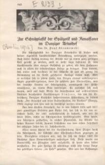 Zur Schnitzplastik der Spätgotik und Renaissance im Danziger Artushof