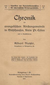 Chronik der evangelischen Kirchengemeinde in Mühlhausen, Kreis Pr. Eylau
