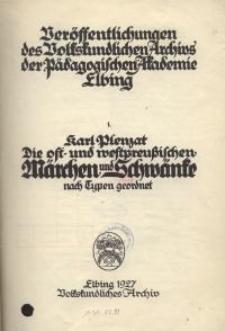 Die ost- und westpreussischen Märchen und Schwänke nach Typen geordnet
