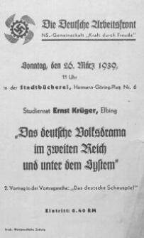 Das deutsche Volksdrama im zweiten Reich und unter dem System
