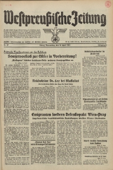 Westpreussische Zeitung, Nr. 87 Donnerstag 15 April 1937, 6. Jahrgang