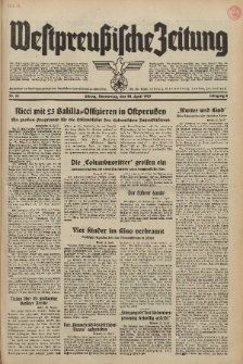 Westpreussische Zeitung, Nr. 93 Donnerstag 22 April 1937, 6. Jahrgang