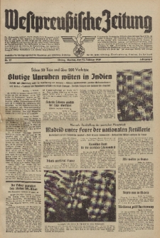 Westpreussische Zeitung, Nr. 37 Montag 13 Februar 1939, 8. Jahrgang