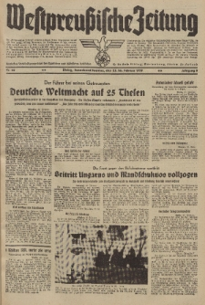 Westpreussische Zeitung, Nr. 48 Sonnabend/Sonntag 25/26 Februar 1939, 8. Jahrgang