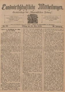 Landwirthschaftliche Mittheilungen, Nr 19, 16. Mai, 6 Jahrgang