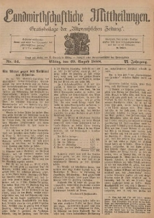 Landwirthschaftliche Mittheilungen, Nr 34, 29. August, 6 Jahrgang