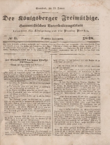 Der Königsberger Freimüthige, Nr. 6 Sonnabend, 15 Januar 1848