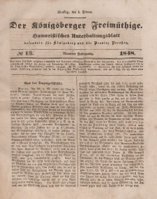 Der Königsberger Freimüthige, Nr. 13 Dienstag, 1 Februar 1848