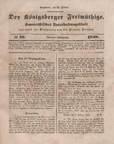 Der Königsberger Freimüthige, Nr. 18 Sonnabend, 12 Februar 1848