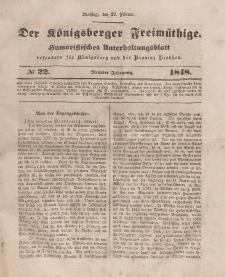 Der Königsberger Freimüthige, Nr. 22 Dienstag, 22 Februar 1848
