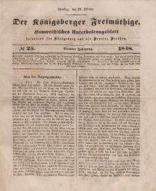 Der Königsberger Freimüthige, Nr. 25 Dienstag, 29 Februar 1848