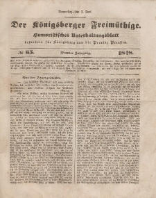 Der Königsberger Freimüthige, Nr. 65 Donnerstag, 1 Juni 1848