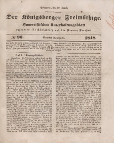 Der Königsberger Freimüthige, Nr. 96 Sonnabend, 12 August 1848