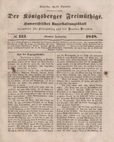 Der Königsberger Freimüthige, Nr. 113 Donnerstag, 21 September 1848