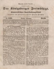 Der Königsberger Freimüthige, Nr. 138 Sonnabend, 18 November 1848