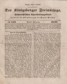 Der Königsberger Freimüthige, Nr. 145 Dienstag, 5 Dezember 1848